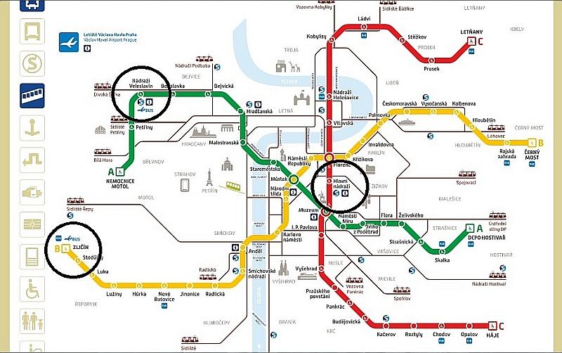 Схема автобусов, идущих от аэропорта до метро в Праге