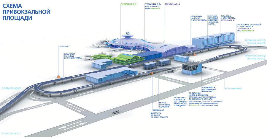 Схема с терминалом А в аэропорту Внуково