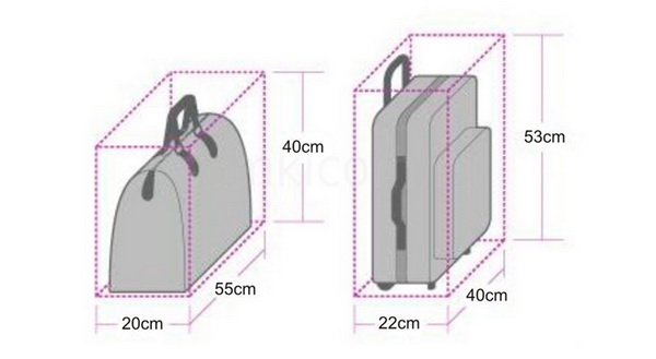 Ручную кладь, размеры которой превышают обозначенные параметры, в салоне провозить не разрешается