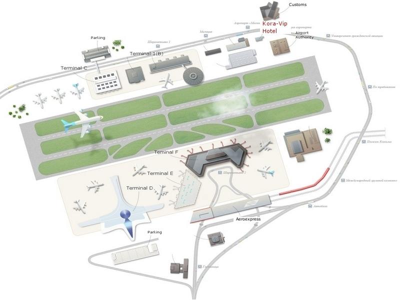 Схема месторасположения гостиницы в Шереметьево