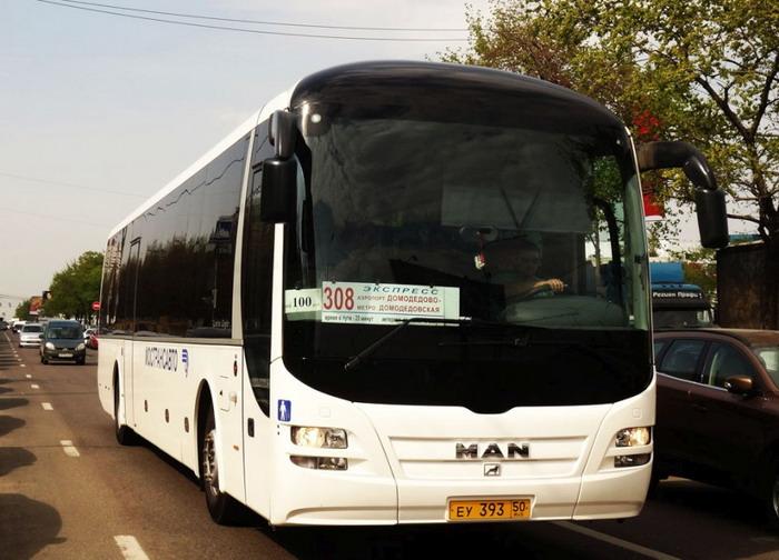 Автобус №308, отправляющийся прямо в аэропорт Домодедово от станции метро «Домодедовская»