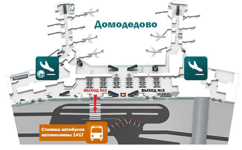 Схема расположения остановки автобусов Домодедово – Рязань
