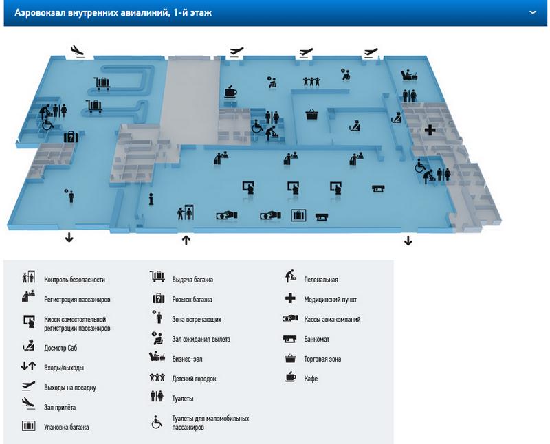 Схема аэропорта Краснодара (внутренние авиалинии)