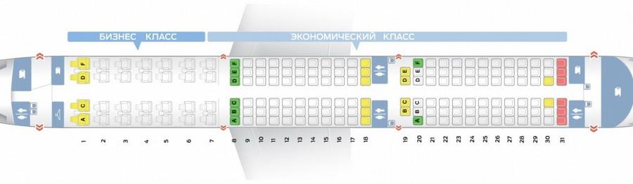 Схема расположения лучших и худших мест в салоне а321