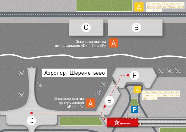 Расположение терминалов в аэропорту Шереметьево