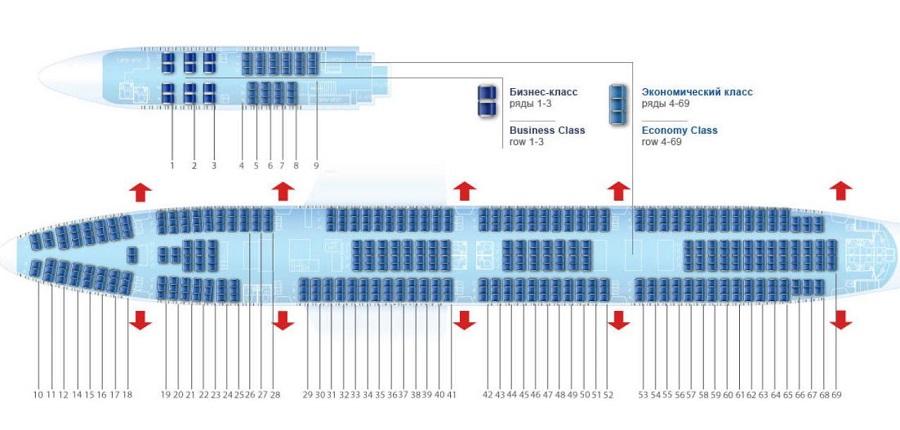 Схема размещения кресел 747-300