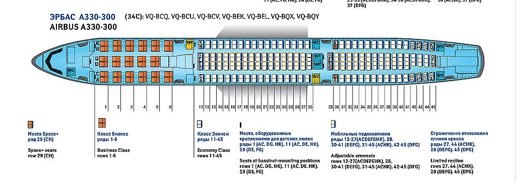 Схема расположения пассажирских мест 34-268