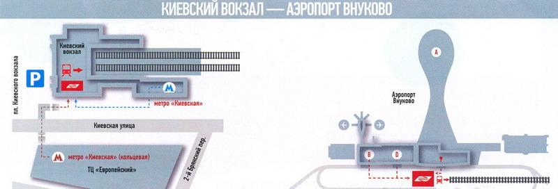 Добраться с Киевского вокзала к аэроэкспрессу очень просто