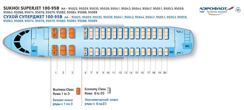 Схема самолета с указанием рядов и мест выглядит так