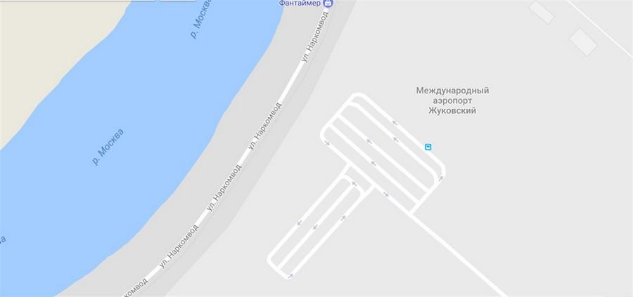 Аэропорт Жуковский на карте