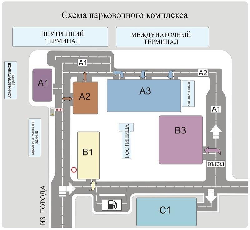 Схема парковочного комплекса аэропорта