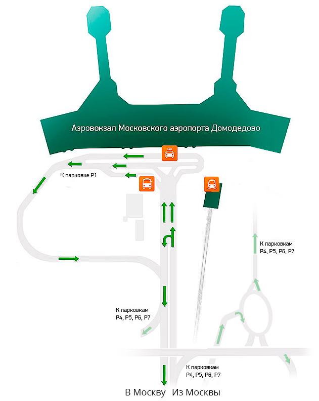 Схема проезда к парковкам в международном аэропорту Домодедово