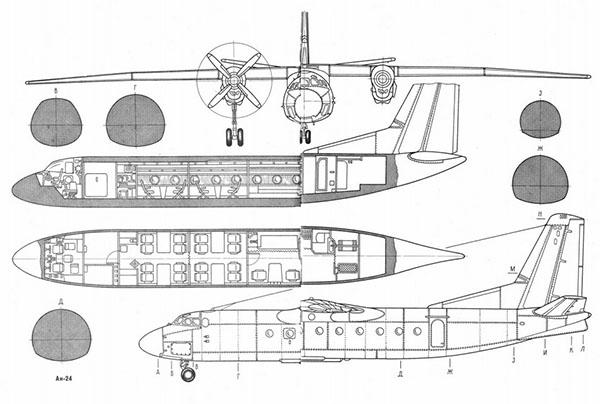 Конструкция самолета АН-24