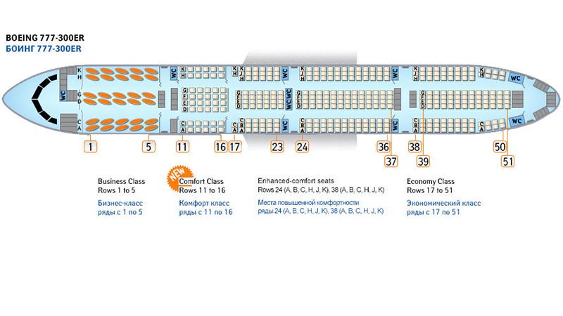 Схема салона Боинга 77w