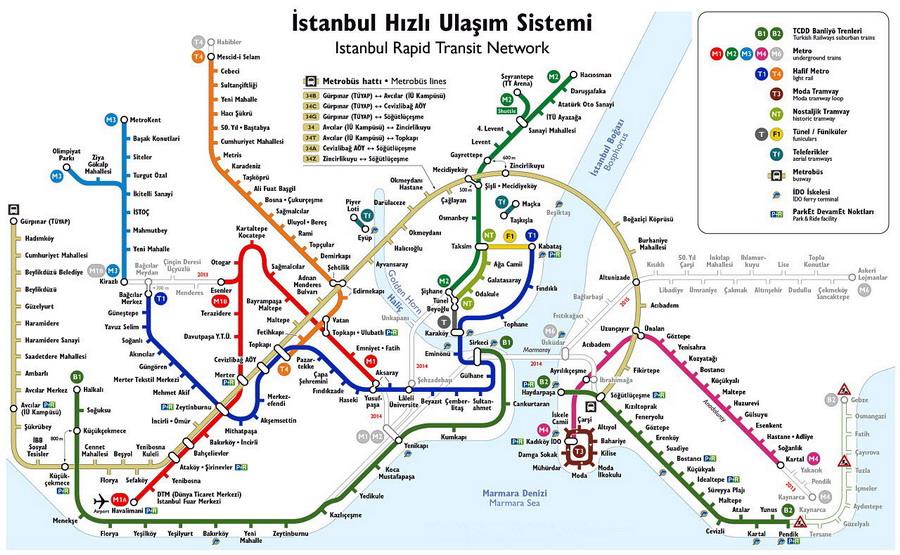 Карта стамбульского метрополитена