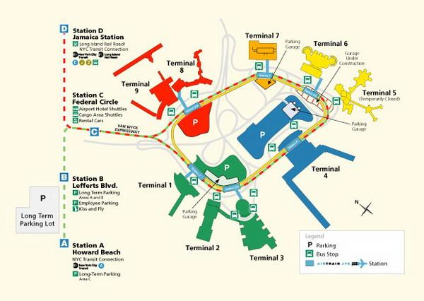 Схема парковок в аэропорту Кеннеди