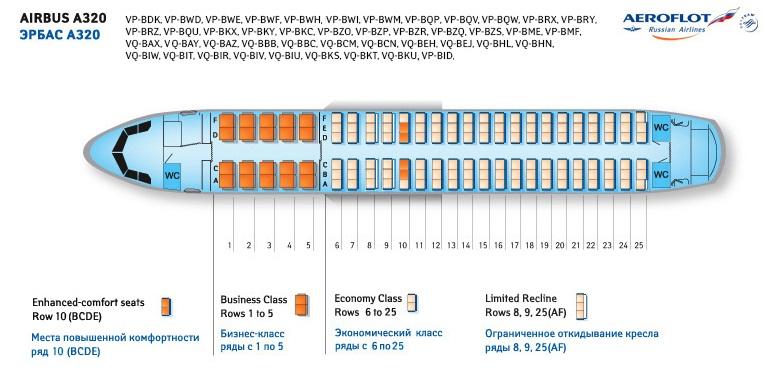 Схема расположения мест в салоне самолета а 320