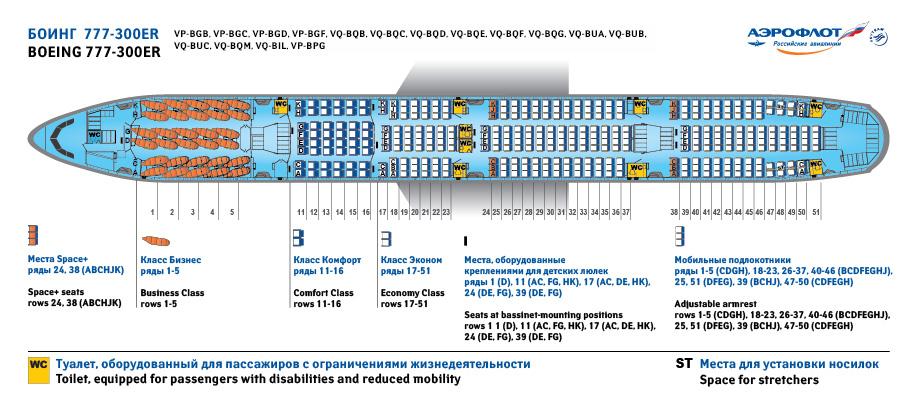 Схема самолета Boeing 777-300ER