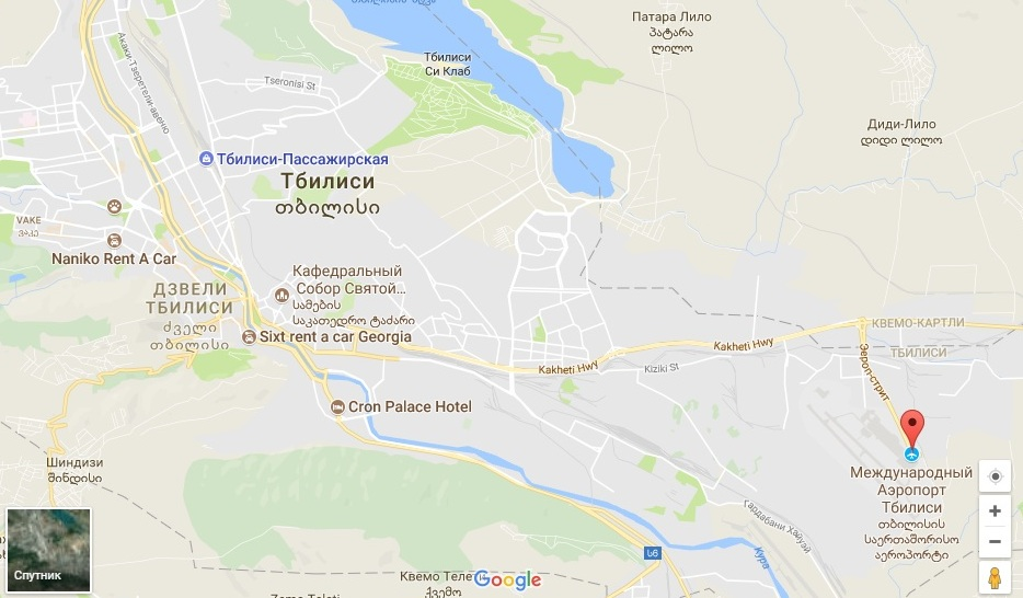 Размещение аэропорта на карте относительно города