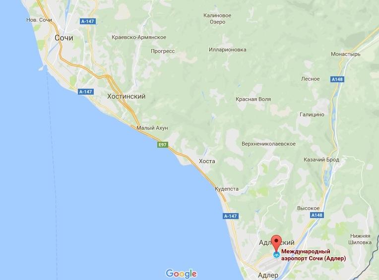Расположение аэропорта Сочи на карте относительно города