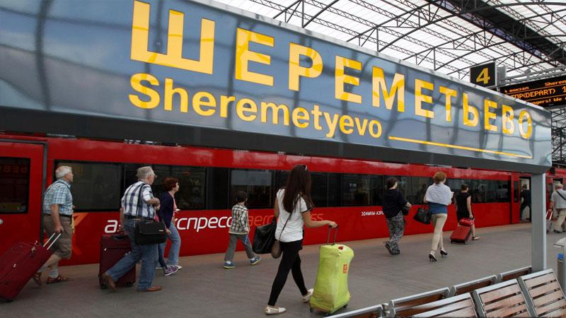 Аэроэкспресс в воздушном порту Шереметьево