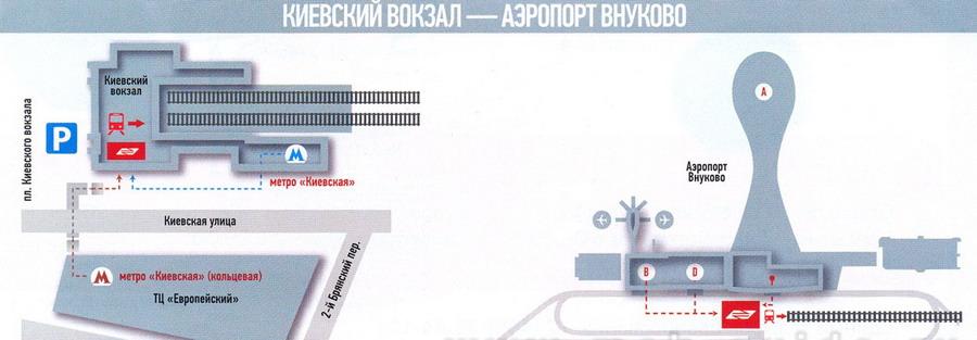 Найти место отправления аэроэкспресса с Киевского вокзала во Внуково не представляет собой сложности
