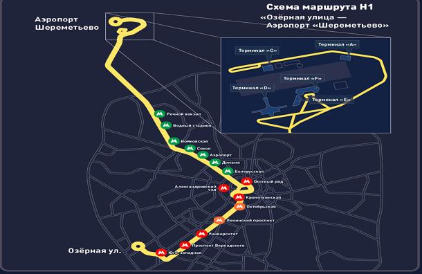 Схема ночного маршрута в Шереметьево