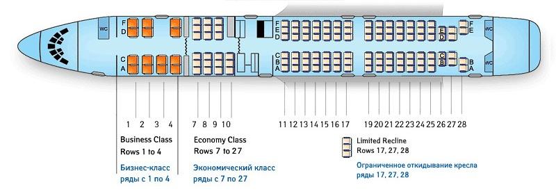 Схема расположения мест в салоне Ту-154